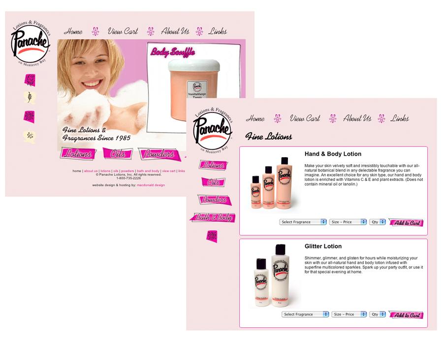 Panache Lotions Website (2004-2015)